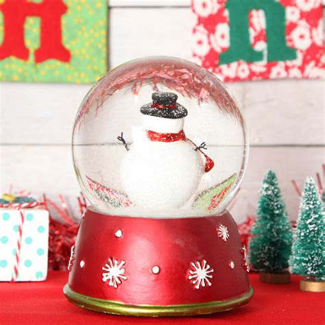 christmas snowman large musical snow globe dome by red berry apple notonthehighstreet com