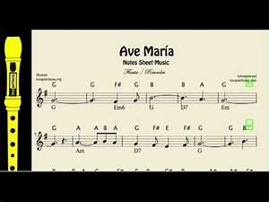 ava violin sheet music ave maría notes sheet music for easy flute and recorder