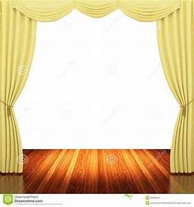 stage with yellow curtains and spotlight stock With yellow stage curtains