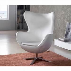Fauteuil Design Blanc : fauteuil design oeuf capitonn en simili cuir de couleur ~ Teatrodelosmanantiales.com Idées de Décoration
