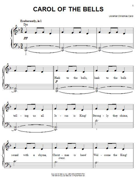 Artists › modern › mykola leontovich. Carol Of The Bells sheet music by Traditional Carol (Easy Piano - 59271)