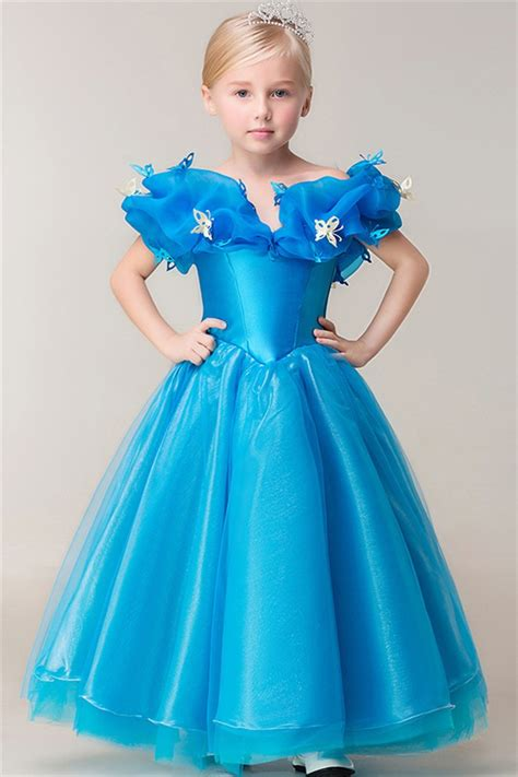 fairy tale ball gown   shoulder blue organa