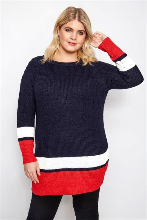 donkerblauw rode trui met vetersluiting grote maten