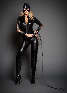 Zip To Crotch Tiger Pattern High Neck Leather CatsuitPVC