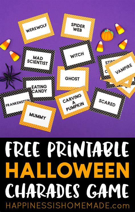 halloween charades game cards happiness  homemade