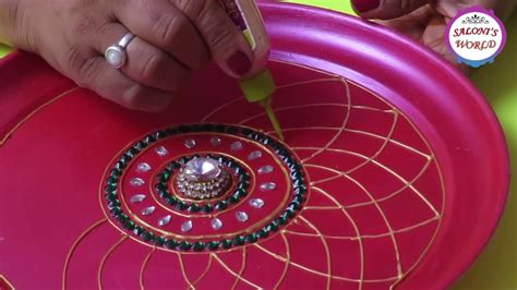 diy    decorative pooja aarti thali plate