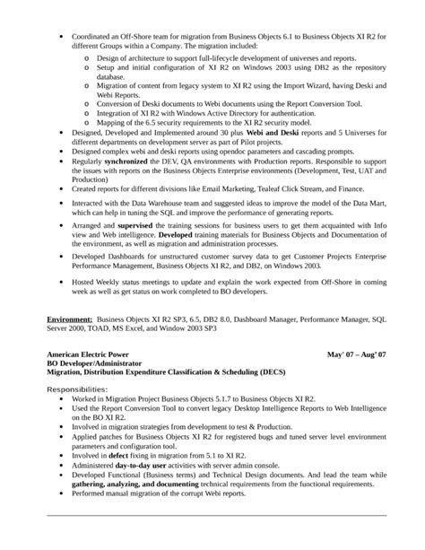 business objects sle resume