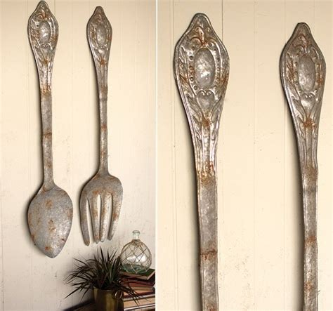 Discover collection of 15 photos and gallery about spoon craft at dessains.com. HUGE Metal Fork and Spoon Wall Art | Antique Farmhouse