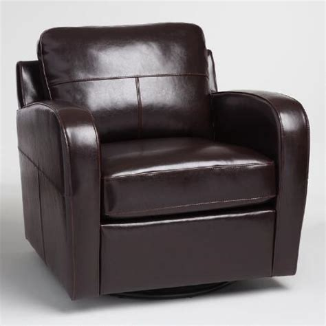 World Market Chairs Leather by Espresso Bi Cast Leather Swivel Chair World Market