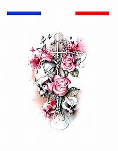 Dessin Tete De Mort Avec Rose : tatouage t te de mort croix pastel roses mon petit tatouage temporaire ~ Melissatoandfro.com Idées de Décoration