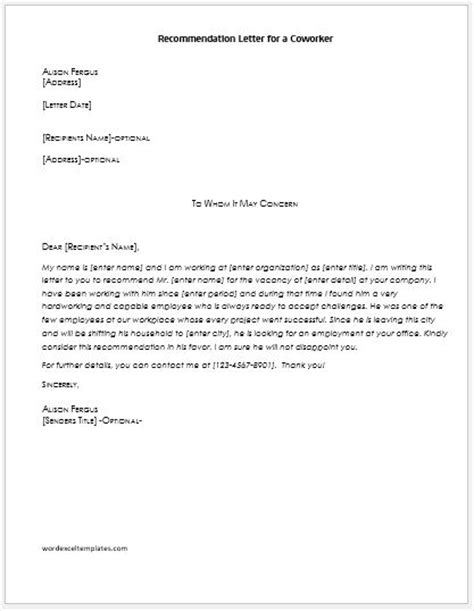 letter of recommendation for coworker recommendation letters for coworker word excel templates