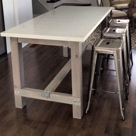 Table Quartz Top by Diy Harvest Table Kitchen Island With White Quartz Counter
