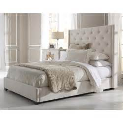 wingback button tufted cream queen size upholstered bed overstock shopping great deals on beds