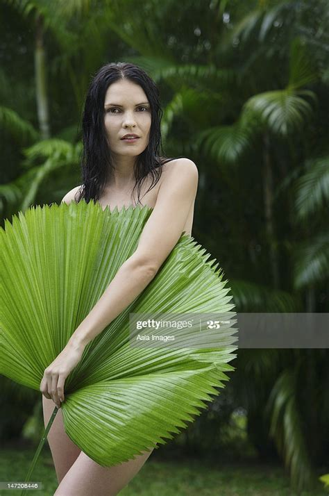 Naked Woman Behind Big Tropical Leaf Stock Photo Getty