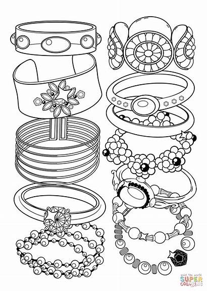Coloring Bracelets Pages Jewelry Printable Drawing Books
