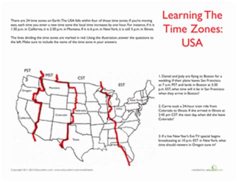 usa time zones worksheet education