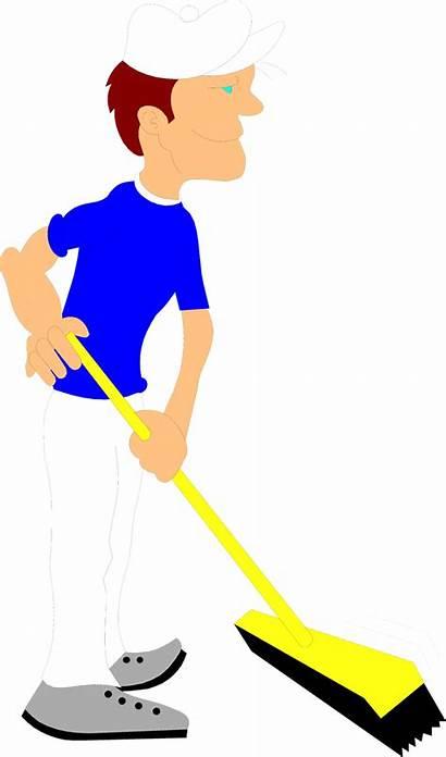 Janitor Broom Illustration Clipart Pushing Floor Wet