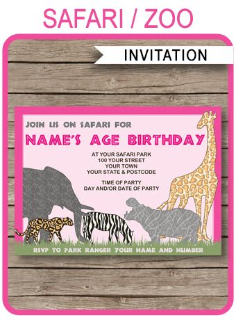 safari  zoo party invitations template pink birthday party