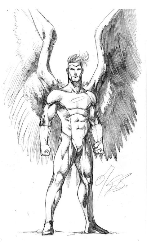 Drawing of the X-Men's Angel | Comic drawing, Angel sketch