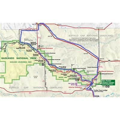 Badlands National Park Map - Take the Loop Road