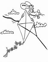 Kite Coloring Pages Printable Kites Cartoon Rabbit Flying Summer Frida Kahlo Popular sketch template