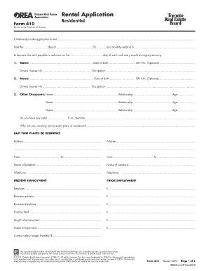apartment rental application form ontario form 410 rental application ontario 2016 edit print fill out forms in word