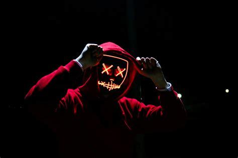 Man 4K Wallpaper, LED mask, Dope, Night, Anonymous, Hoodie ...