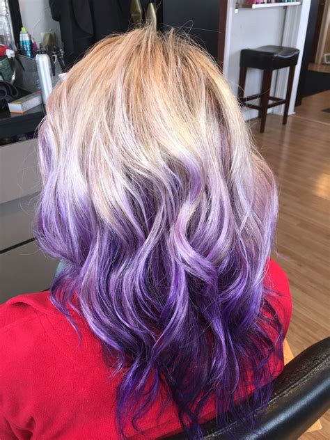 blonde  purple violet ombre balayage hair hair