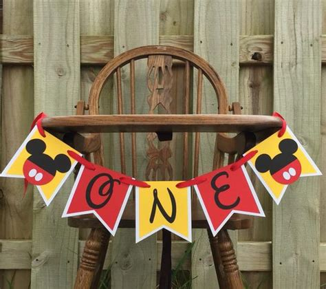 Mickey Mouse High Chair Decorations - mickey mouse highchair banner mickey cake smash banner mickey