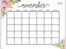 November 2018 Calendar Page Key Calendar Template Printable