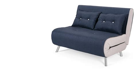 canape convertible futon haru small sofa bed in quartz blue made com