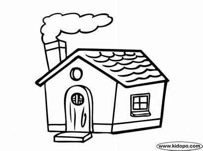 Coloring Drawing Pages Cartoon Easy Colouring Houses