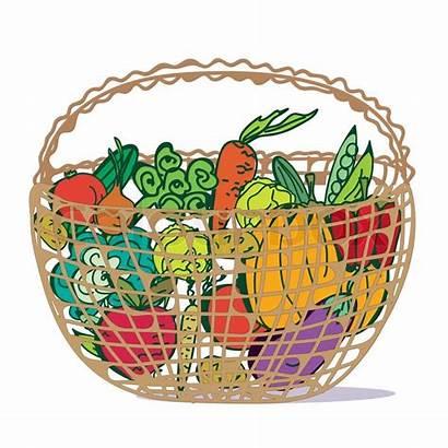 Cartoon Basket Vegetables Fresh Clip Vector Drawings