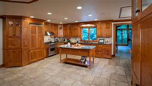 cherry cabinets travertine floors cherry wood With best brand of paint for kitchen cabinets with vinyl wall art canada