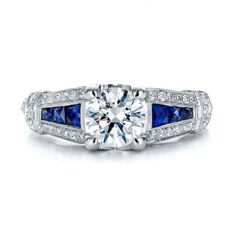 engagement rings deco style deco style blue sapphire and engagement ring 100388