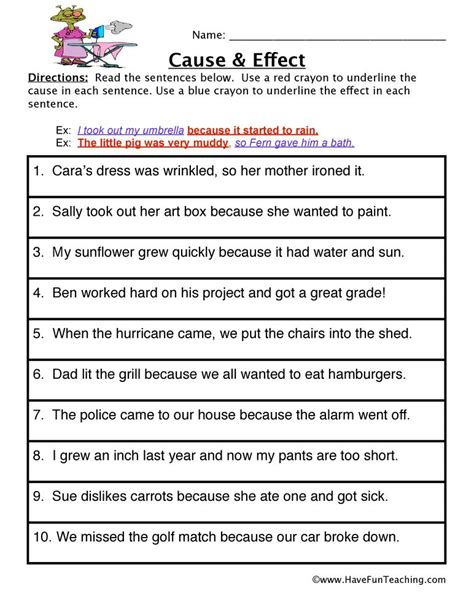 cause and effect worksheet 4th grade ideas cause effect worksheets reading comprehension