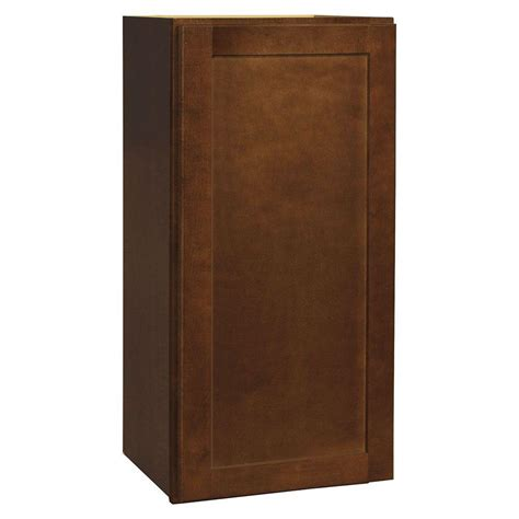 home depot cognac cabinets hton bay assembled 15x30x12 in shaker wall cabinet in