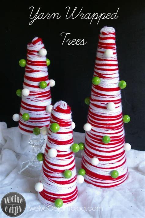 diy yarn wrapped christmas trees    michaels