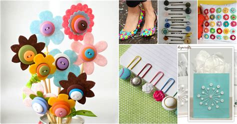 innovative  beautiful button crafts  projects