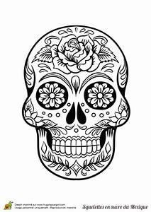 Tete De Mort Mexicaine Dessin : coloriage squelette sucre roses fleurs sur hugolescargot ~ Melissatoandfro.com Idées de Décoration