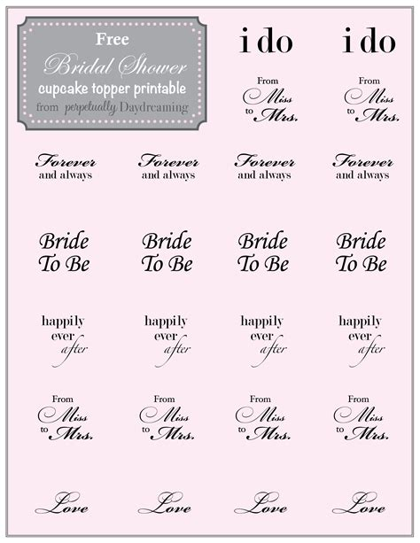 Printable Wedding Shower - country bridal shower cupcake topper free printable