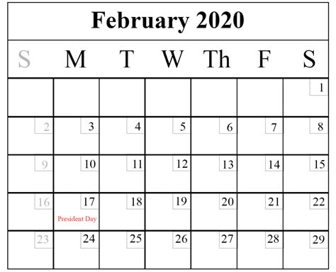blank february calendar printable template word excel