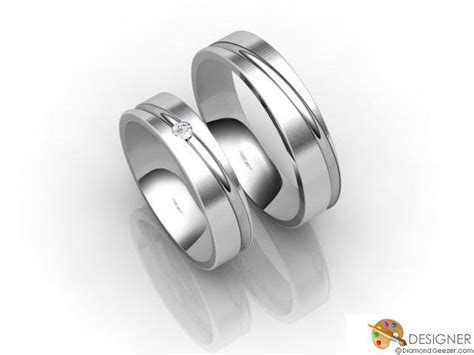 His And Hers Matching Set 18ct. White Gold Court Wedding Ring