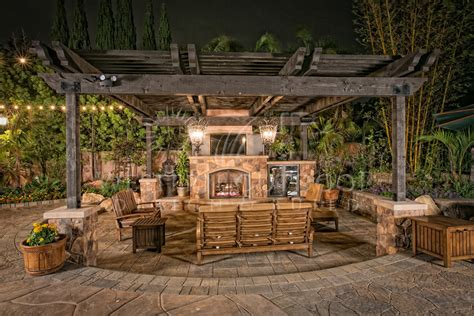 outdoor living room with fireplaces gallery western