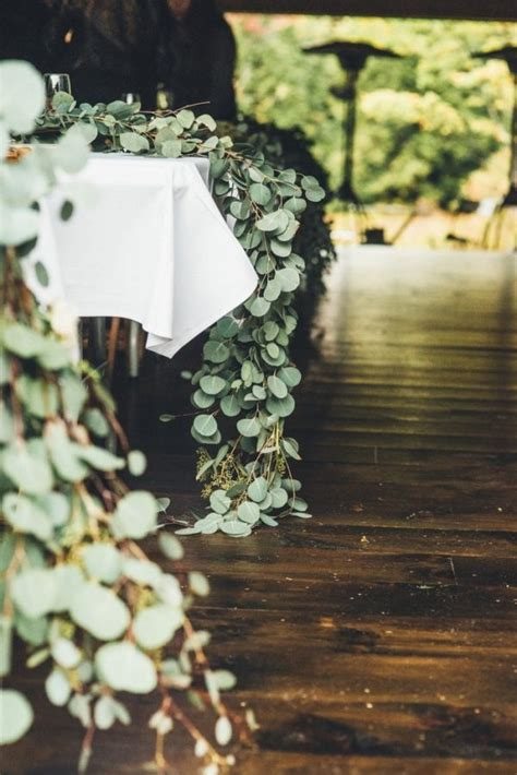rustic glam cascading magnolia leaf table runner wedding