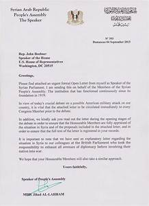 syrian parliament letter to the us house of With press in letters