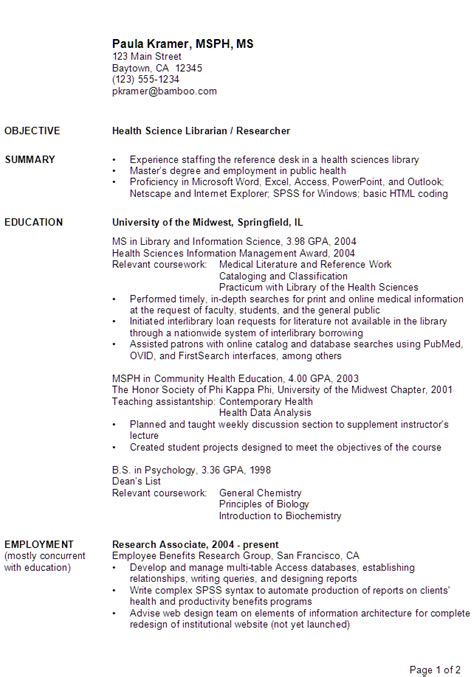 resume health science librarian researcher susan