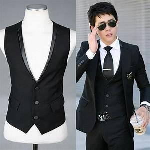 2018 Fashion Vests / Men Suit Vest V Collar Waistcoat Woven Vest Slim Paragraph Menu0026#39;S Slim Shirt ...
