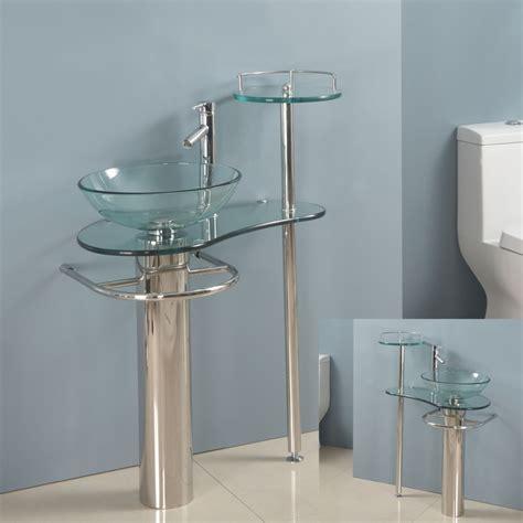 """28"""" bathroom glass vanities vessel sink set combo"""