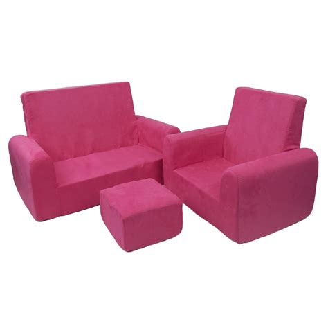 Sofa Chair And Ottoman Set In Pink Microsuede